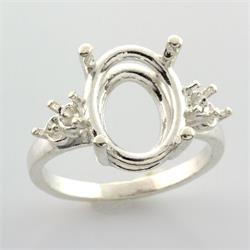 Sterling Oval 3mm Double Accented Premium Ring Mounting