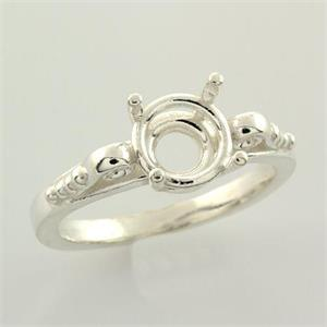 Sterling Round Scroll Design Premium Ring Mounting