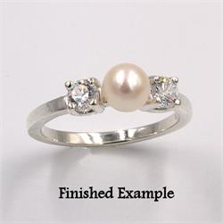 Sterling 6mm Pearl Accented Premium Ring Mounting
