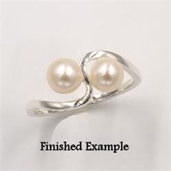 Sterling Double Pearl Premium Ring Mounting