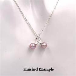 Sterling Ribbon Loop Double Pearl Pendant Setting