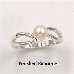 Sterling Split Shank Semi-Swirl Pearl Premium Ring Mounting