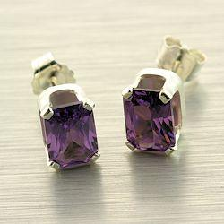 Sterling 7x5mm Emerald Lab Created Alexandrite Corundum Earrings