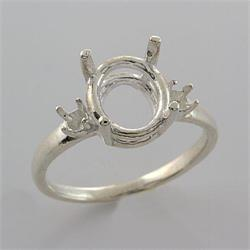 Sterling Oval with 3mm Accents Premium Ring Mounting
